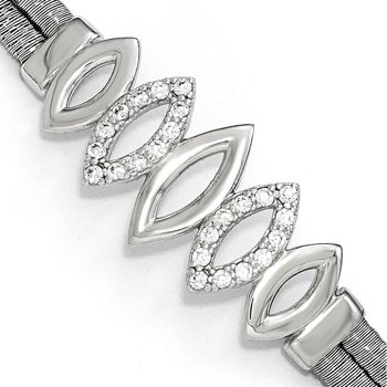Leslie's Sterling Silver Polished CZ w/1.5in ext. Bracelet