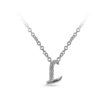 "10K WG and diamond cursive alphabet L ""Chain Sliding "" pendant in prong setting"