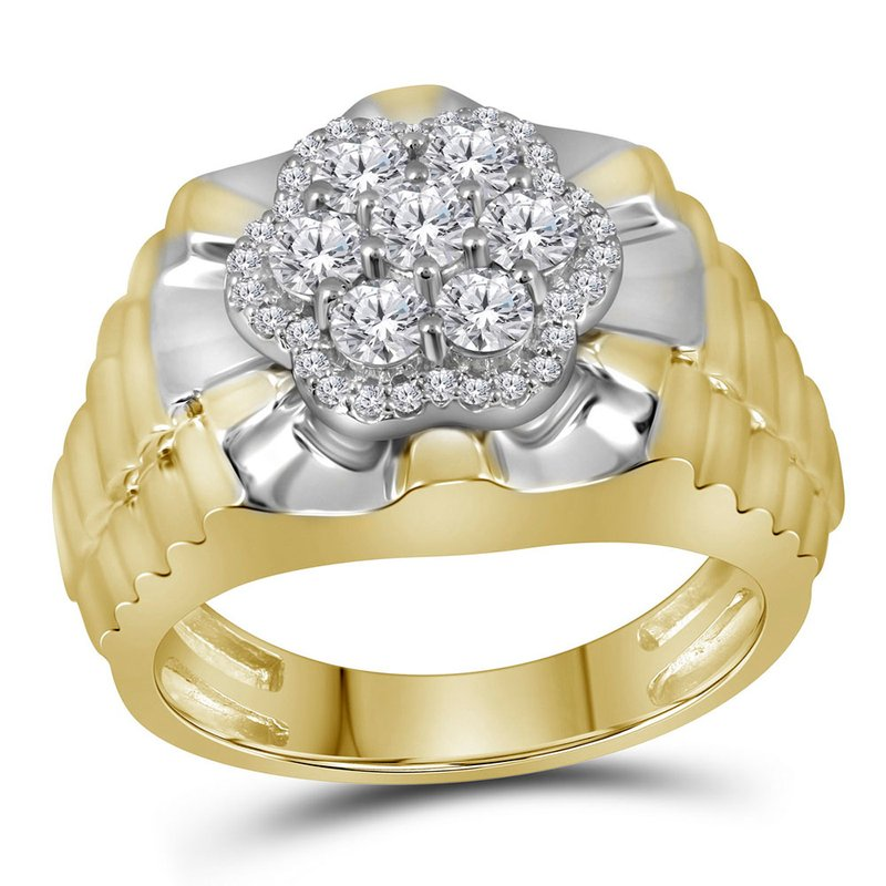 Gold-N-Diamonds, Inc. (Atlanta) 10kt Two-tone Yellow White Gold Mens Round Diamond Flower Cluster Ribbed Ring 1.00 Cttw