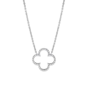 Diamond Clover Necklace in 14K White Gold with 44 Diamonds Weighing  .42ct tw