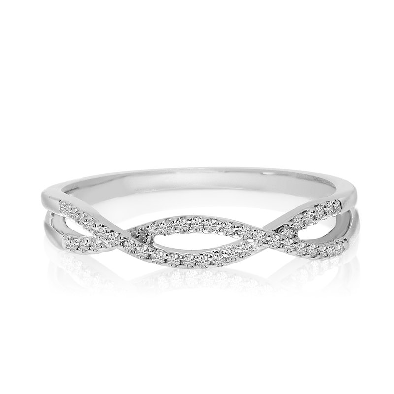 "Color Merchants 14k White Gold Diamond Flowing ""X"" Ring"
