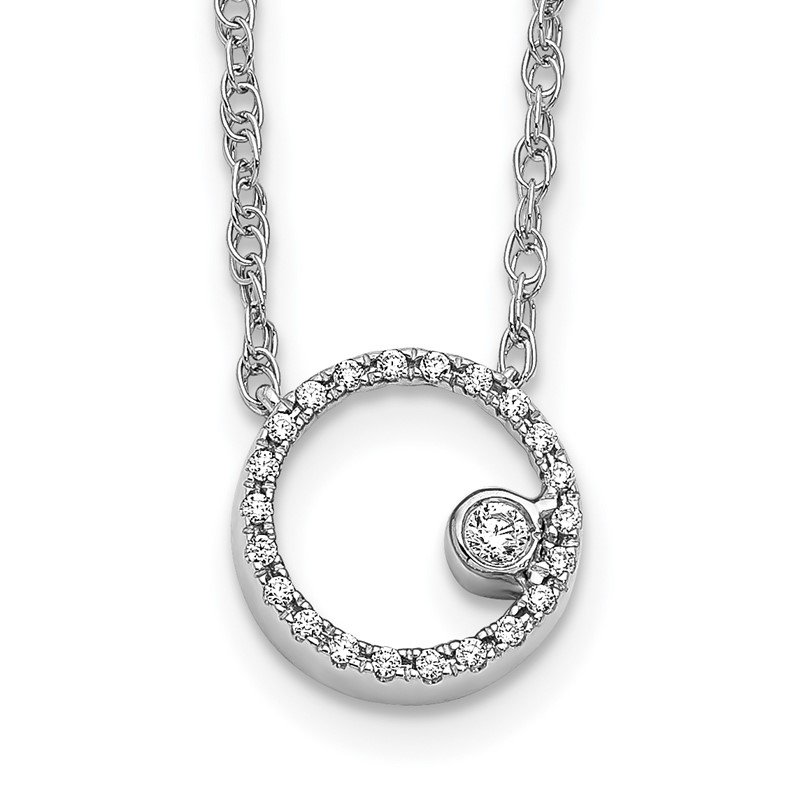 Quality Gold 14k White Gold Diamond Open Circle 18 inch Necklace