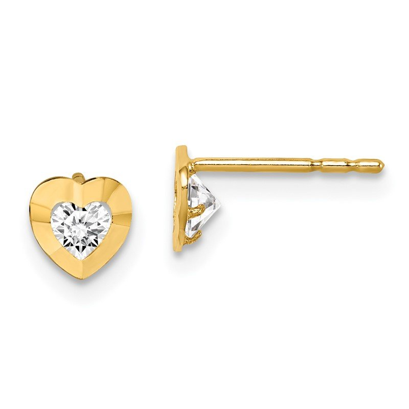 Quality Gold 14k Madi K CZ Heart Post Earrings