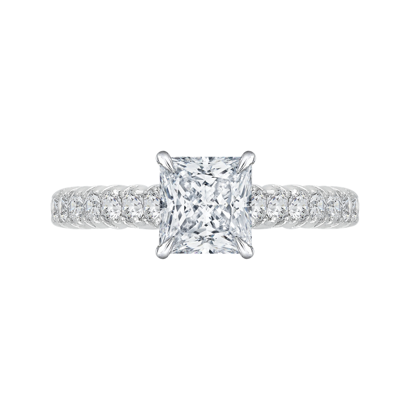 Carizza 14K White Gold Princess Cut Diamond Cathedral Style Engagement Ring (Semi-Mount)