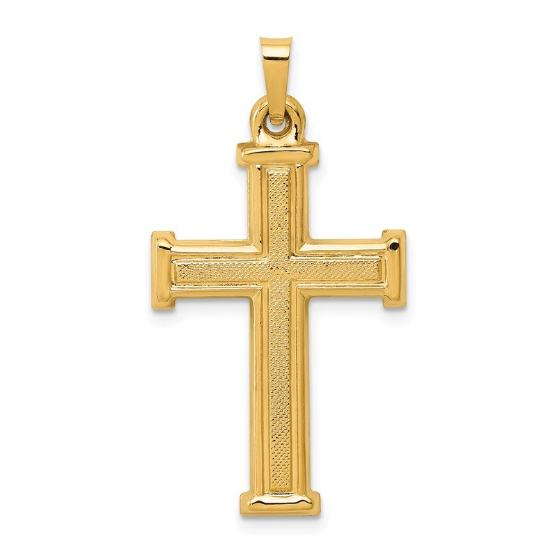 Quality Gold 14k Brushed and Polished Latin Cross Pendant