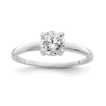 Sterling Silver Rhodium-plated Solitaire Round CZ Ring