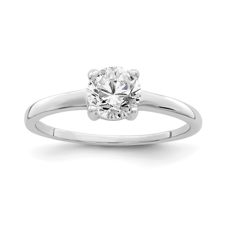 Quality Gold Sterling Silver Rhodium-plated Solitaire Round CZ Ring