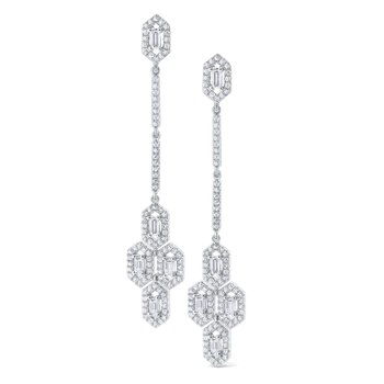 Diamond Hexagonal Mosaic Drop Earrings Set in 14 Kt. Gold
