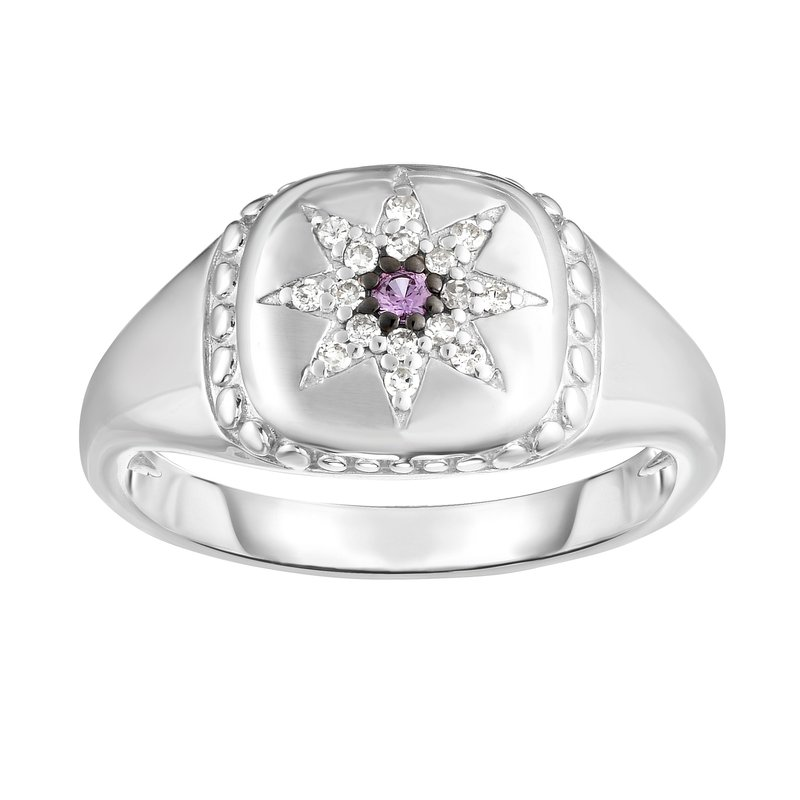 Royal Chain Sterling Silver Gemstone & Diamond Star Signet Ring