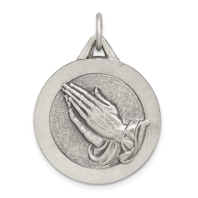 Quality Gold Sterling Silver Antiqued Praying Hands Pendant