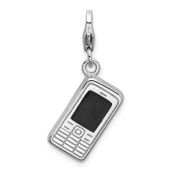 Sterling Silver 3-D Enameled Cell Phone w/Lobster Clasp Charm