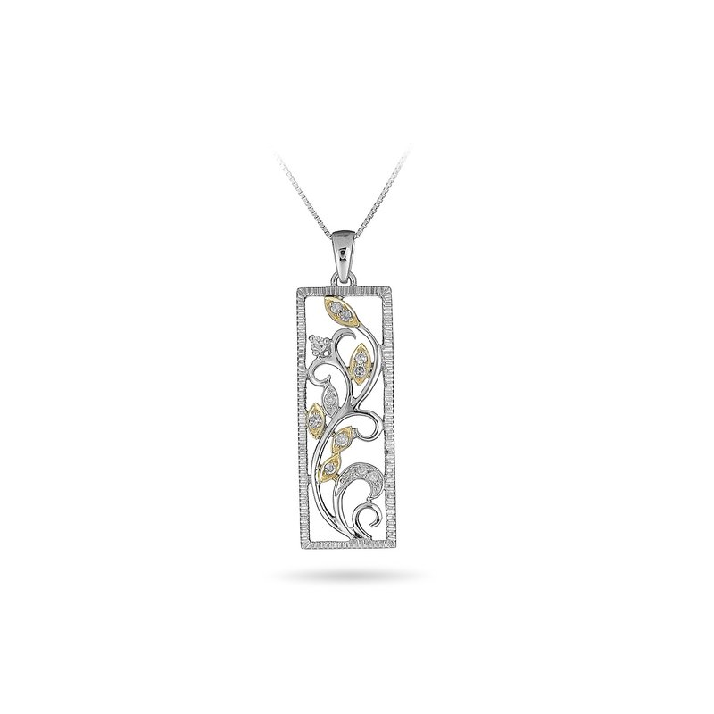 BB Impex 14K WY Diamond Framed Vine Pendant