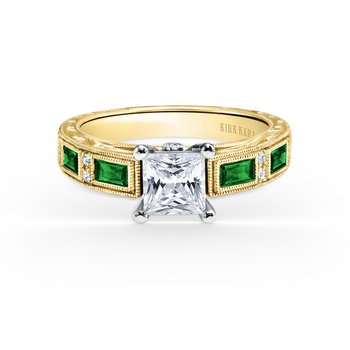 Green Tsavorite Diamond Engagement Ring