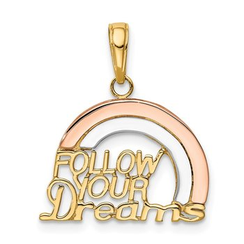 14k Two-tone w/White Rhod FOLLOW YOUR DREAMS Rainbow Charm