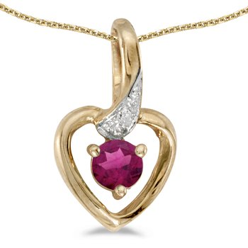 14k Yellow Gold Round Rhodolite Garnet And Diamond Heart Pendant
