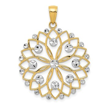 14k and White Rhodium Diamond-cut Flower Pendant
