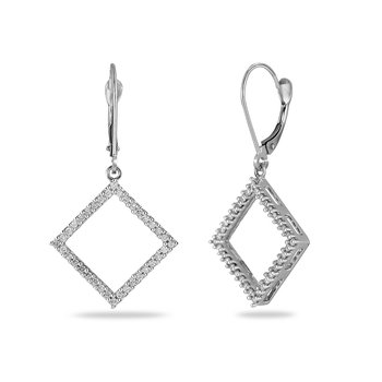 14K WG Diamond Square Earring