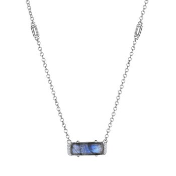 Solitaire Emerald Cut Gem Necklace with Labradorite