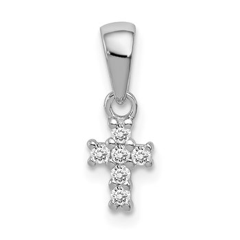 Sterling Silver Rhodium-plated Polished CZ Cross Pendant