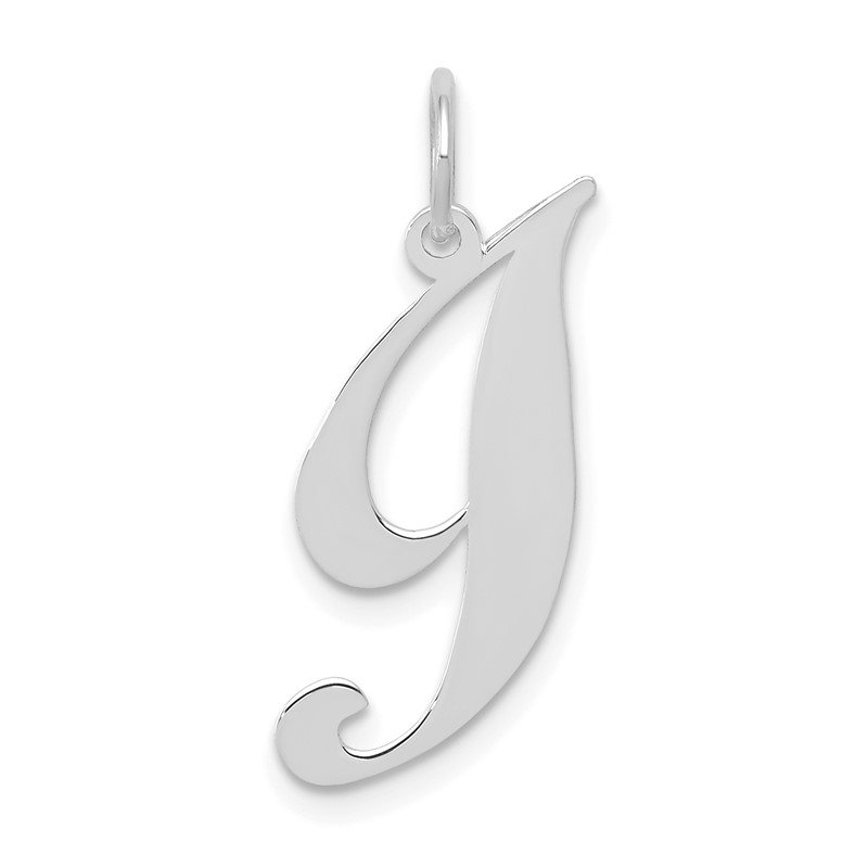 Quality Gold 14k White Gold Small Fancy Script Letter I Initial Charm