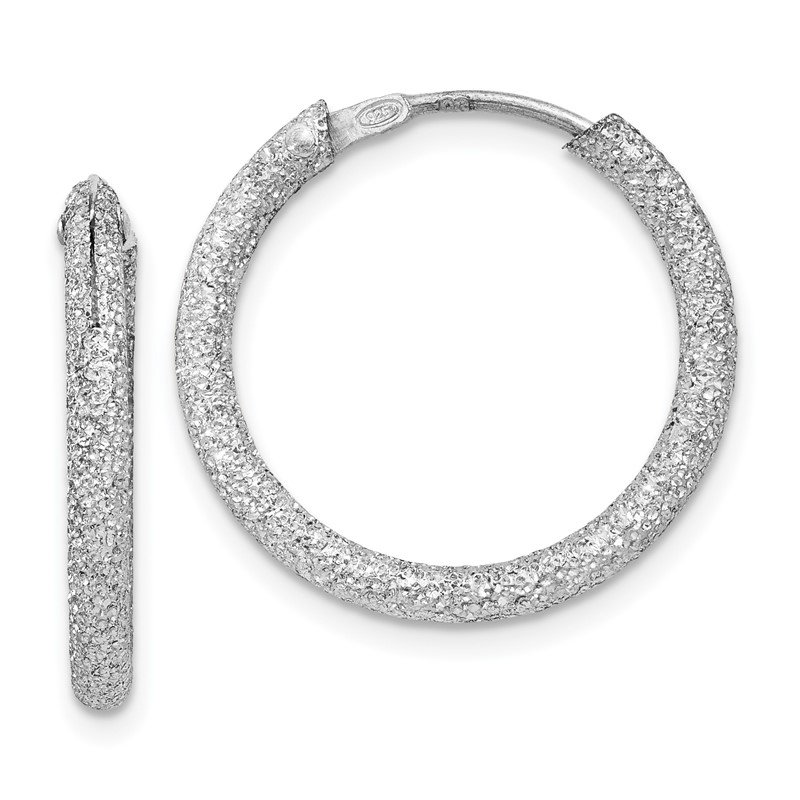 Quality Gold Sterling Silver Rhodium-plated Laser Cut 2mm Endless Hoop Earrings