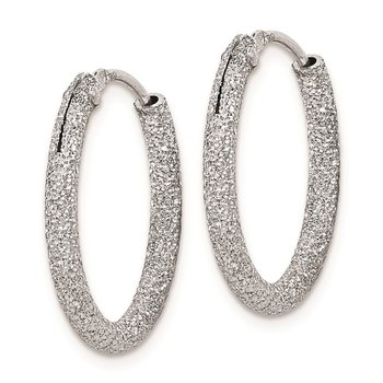 Sterling Silver Rhodium-plated Laser Cut 2mm Endless Hoop Earrings