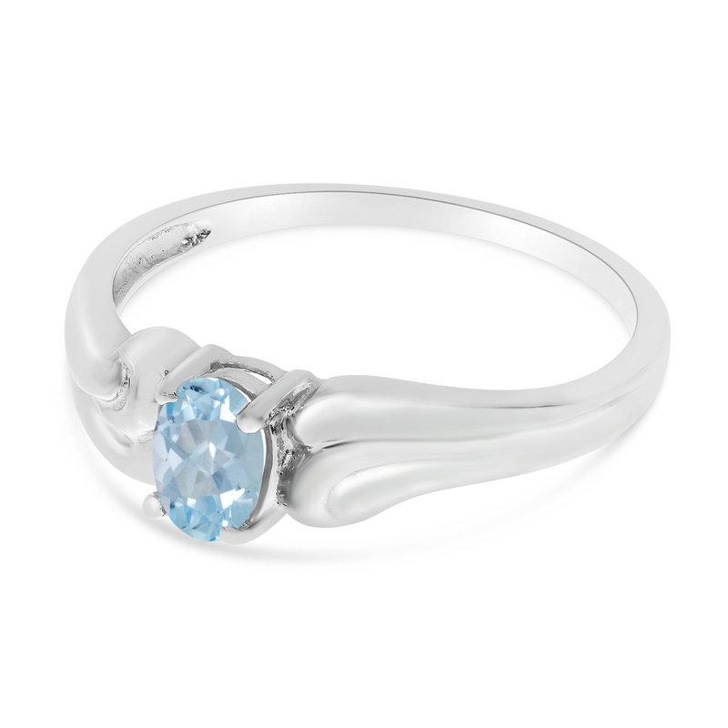 Color Merchants 14k White Gold Oval Aquamarine Ring