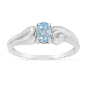14k White Gold Oval Aquamarine Ring