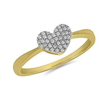 10K YG and Diamond Pave Set Heart Ring