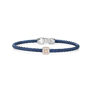 Blueberry Cable Essential Stackable Bracelet with Single Square Diamond station set in 18kt Rose Gold