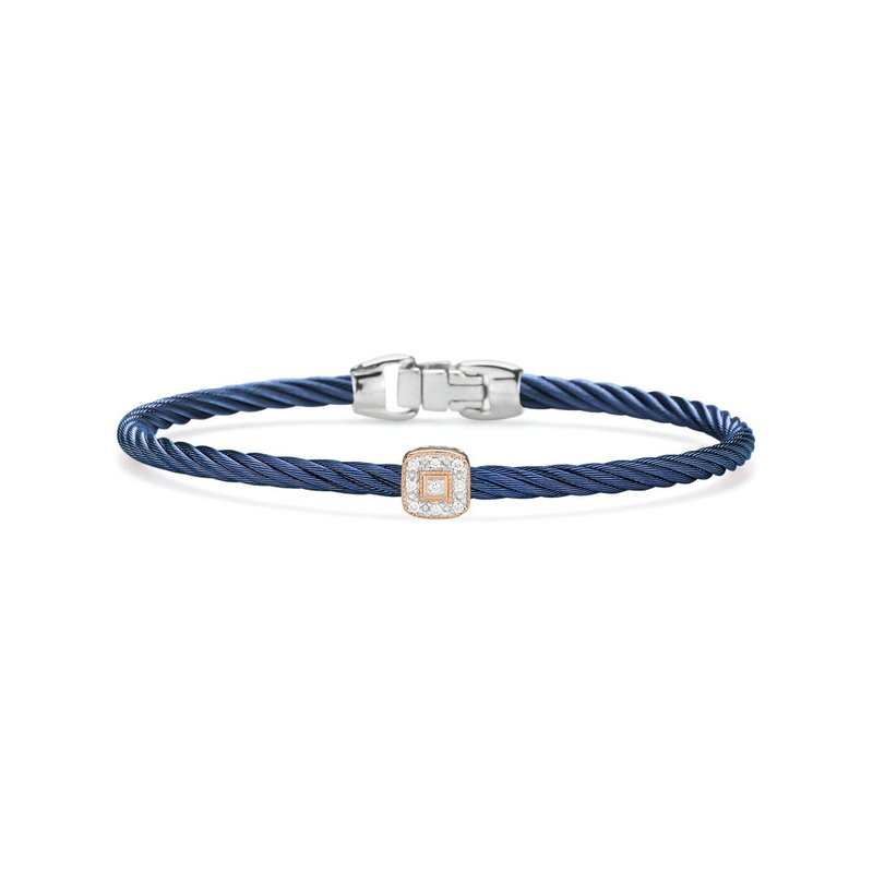 ALOR Blueberry Cable Essential Stackable Bracelet with Single Square Diamond station set in 18kt Rose Gold