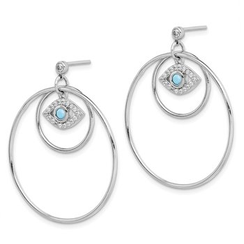 Sterling Silver Rhodium-plated Hoop w/CZ & Blue Crystal Eye Earrings