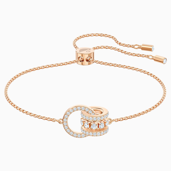Further Bracelet, White, Rose-gold tone plated