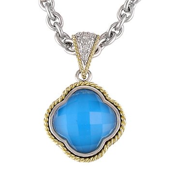 18kt and Sterling Silver Doublet Turquoise Clover Diamond Pendant with Chain