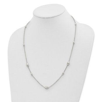 Sterling Silver Polished Oval Beaded Necklace