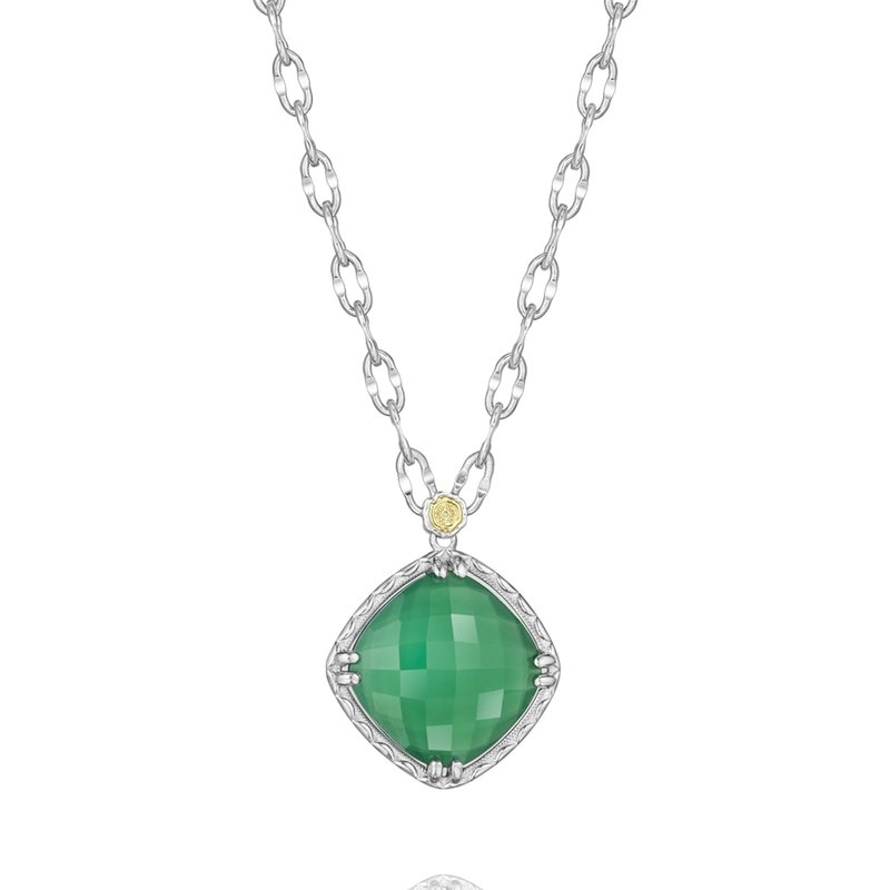 Tacori Fashion Gem Pendant featuring Clear Quartz over Green Onyx