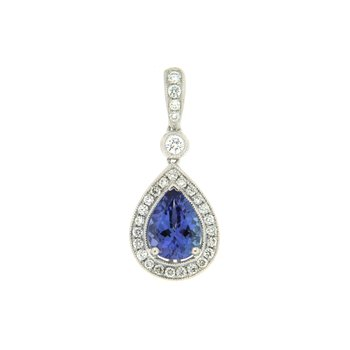 18k White Gold Pendant with Tanzanite & Diamond