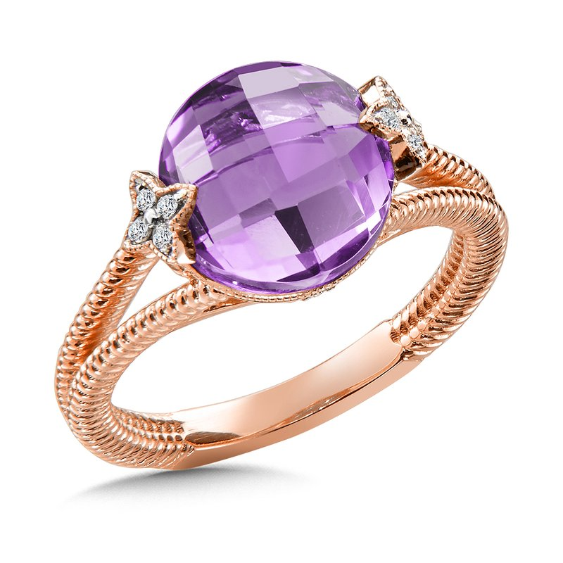 Colore Oro Amethyst & Diamond Ring in 14K Rose Gold