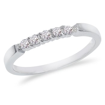 14K White Gold .25 ct Diamond Five Stone Band Ring