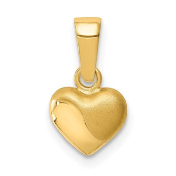14k Satin and Polished 3D Puffed Heart Pendant