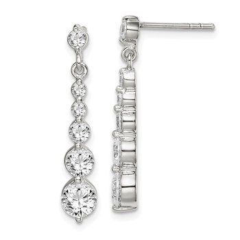 Sterling Silver CZ Journey Post Dangle Earrings
