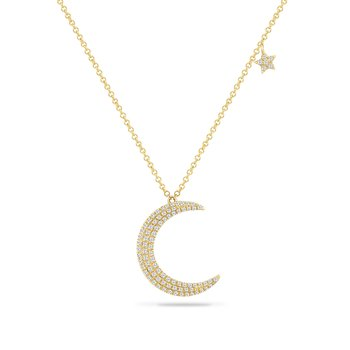 14K crescent moon pendant with 87 diamonds 0.32CT, with small starfish accent on chain 18""