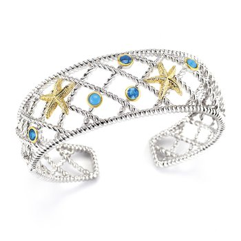 "Sterling Silver and 14K Yellow Gold Starfish and Semi-Precious Stones Bangle 1"" wide on top"