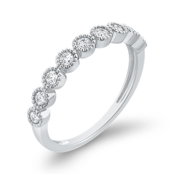 1/3 ct Round Diamond Wedding Band Ring In 10K White Gold
