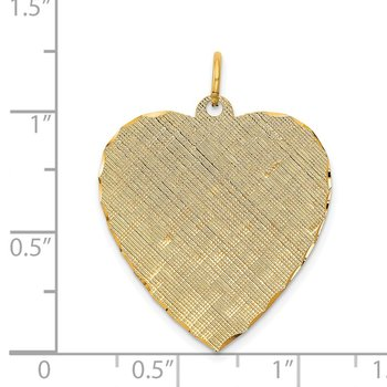 14k Patterned .027 Gauge Engravable Heart Disc Charm