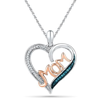MOM Heart Pendant   0.03 CTTW Sterling Silver with Diamond