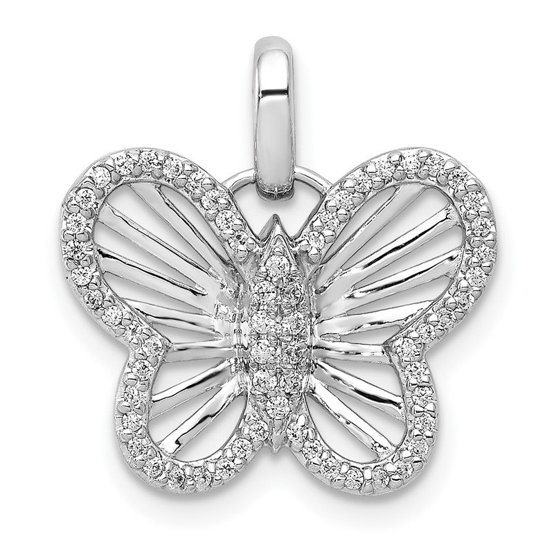 Quality Gold 14k White Gold 0.19ct Diamond Butterfly Pendant