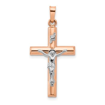 14k Two-tone Gold Hollow Crucifix Pendant