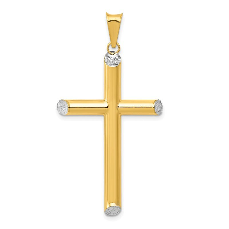 Quality Gold 14K W/Rhodium 3-D Hollow D/C Cross Pendant