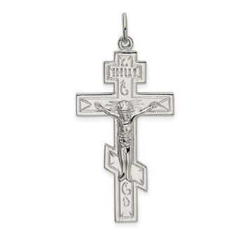 Sterling Silver Polished Eastern Orthodox Cross Pendant